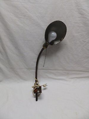 Vtg Industrial Bench Work Light Table Lamp Gooseneck Flexible Old Mount 400-18P