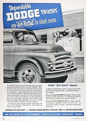 1952 DODGE JOB RATED TRUCKS Lot of (2) Vintage Advertisements ~ RARE CDN Ads