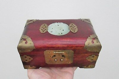 Beautiful Chinese Wooden & Brass Bound Jewel Jewellery Box or Casket Impressive