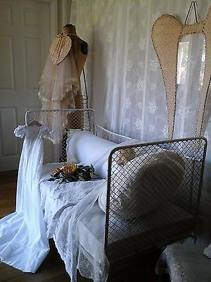 VERY RARE Original Antique French Iron / Mesh Sofa/Daybed/Cot~ Victorian 1800's