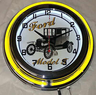 "Ford Model T 15"" Double Neon Clock Yellow Neon Chrome Finish"