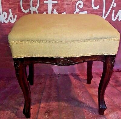 Antique Vintage Wooden Piano Music Bedroom Make Up Stool Seat Ornate Decorative