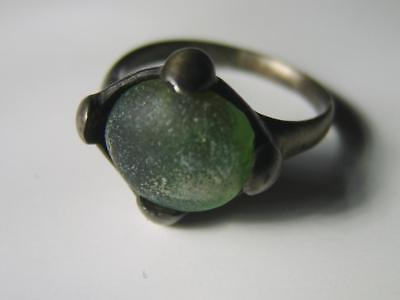 Viking Silver Ring Set With Green Glass Iridescence  Circa 9th Century A.D.
