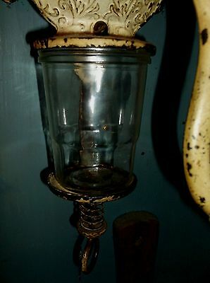 Coffee  Catch Cup Glass Jar  Fits Antique  Arcade Grinder Crystal Wall  Mount