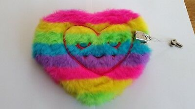 Smiggle Lockable Fluffy Heart-shaped Diary