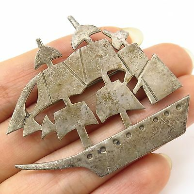 Vtg Mexico 925 Sterling Silver Sailboat To Adventures Large Pin Brooch