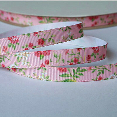 10mm wide Grosgrain Ribbon Pink Floral Pattern - by the metre / Sewing / Craft
