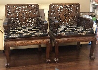 Beautiful Unique Vintage Pair Of Hand Carved Wood Dragon Large Chairs Chinese