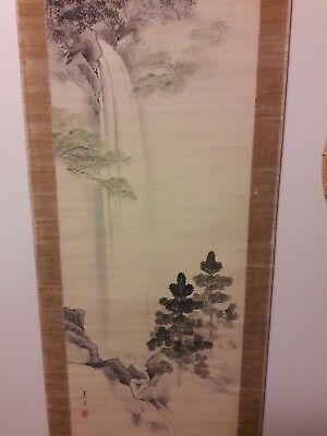 antique zen SANSUI Japanese Scroll waterfall Painting, Signed, Japan