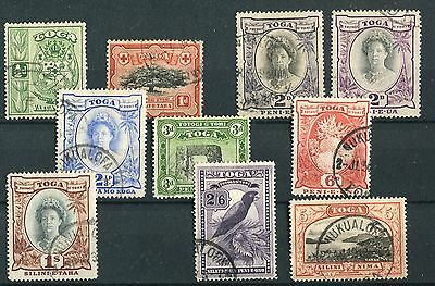 Tonga KGVI 1942-49 set of 9 + 1 SG74/82 used
