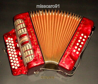 GERMANY TOP  HOHNER GCF Corona III R button Accordion  with Hohnercase + Straps