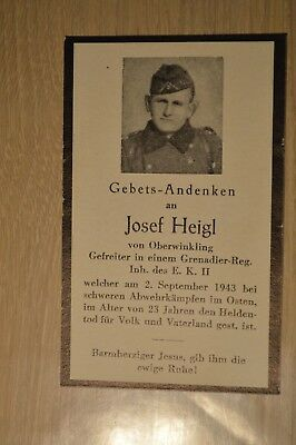 Death card Germany WW2 died in the East 1943 German soldier deathcard w photo