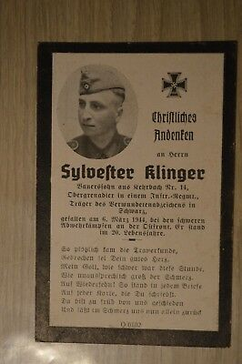 Death card Germany WW2 died in the East 1944 German soldier deathcard w photo