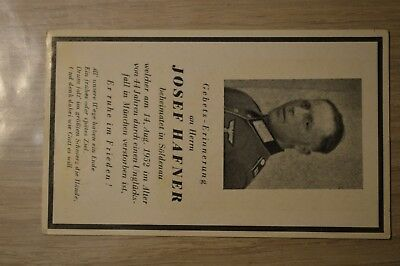 Death card Germany WW2 old German soldier died in Munchen 1952 car accident