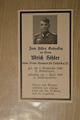 Death card Germany old German soldier WW2 died in 1957 deathcard