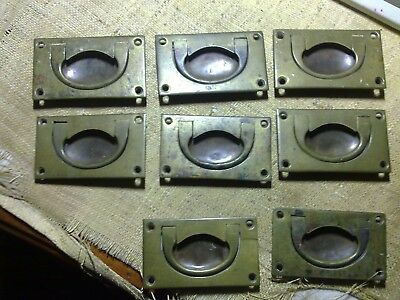 recessed military handles x 8, desk, drawers, chest, antique