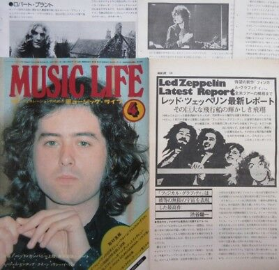 Jimmy Page Led Zeppelin Robert Plant 1975 Clipping Japan Magazine U1 F9 6Page