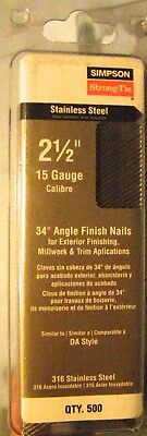 Simpson Strong-Tie T15N250SFB 2 1/2 15 ga 316SS Angled Finish Nail New ct. 500
