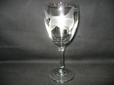 New Etched Gordon Setter Wine Glass