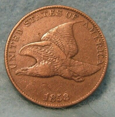 1858 LL Flying Eagle Penny VF+ * US Coin *