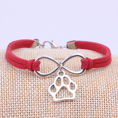 Silver Pets Dogs Paw Charms Pendant Leather Infinity Bracelet Women Jewelry #03