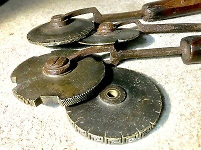 4 Antique Bookbinders Embossing Wheels Leather Workers Gold Foil Embossing Tools