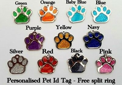 Dog Cat Pet Tag ID Collar Tags Engraved Personalised  27mm Glitter Paw