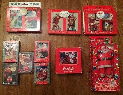 Vintage Coca-Cola Christmas Playing Cards (13 Decks) & Coasters (6)