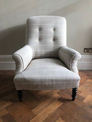 Antique Victorian style button back armchair in Ian Mankin checked fabric