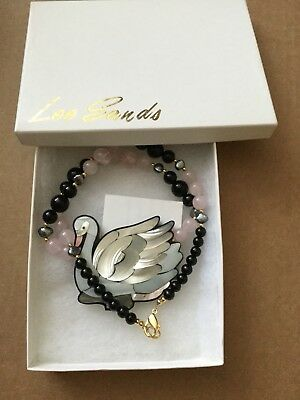 Signed Lee Sands Mother of Pearl Swan and Bead Necklace