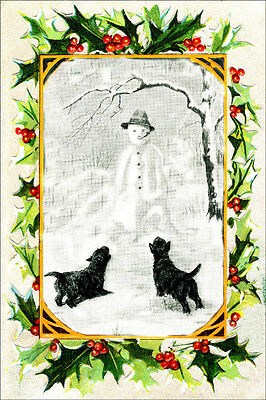 Cairn Terrier Dogs See Snowman 1934 M. Kirmse ~ LARGE New Christmas Note Cards