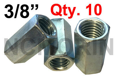 Qty 10 Hex Rod Coupling Nuts 3/8-16 x 1-1/8 Threaded Rod Connectors Zinc Coupler
