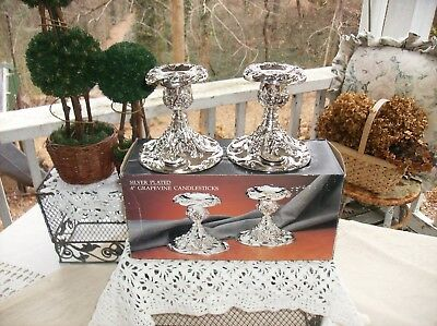 "Godinger-Silver Plated 4"" Grapevine Candlesticks-New In Box-Mint Condition"