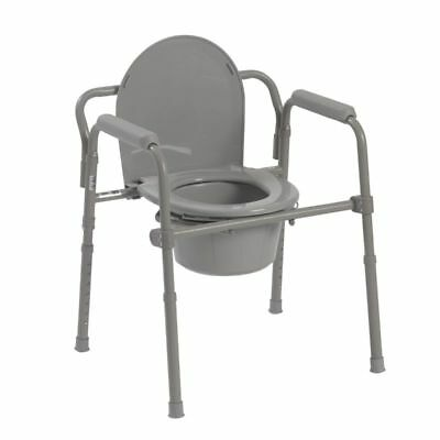 Bedside Commode Heavy Duty Adult Chair Seat Safety Toilet Bathroom Steel Folding