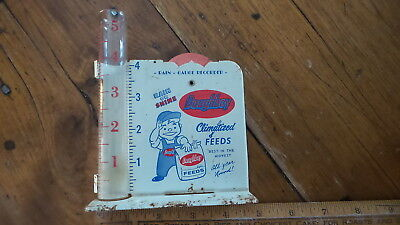 Vintage Advertising RAIN GAUGE, DOUGHBOY FEEDS, Glass Rain Catcher, metal