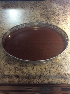 """FISHER STERLING MAHOGANY VANITY TRAY WITH STERLING RIM  12"""" X 9"""" Oval 2214"""