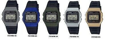 Casio F91WM Men's Black Band Gray Green Blue Silver or Gold Case Digital Watch