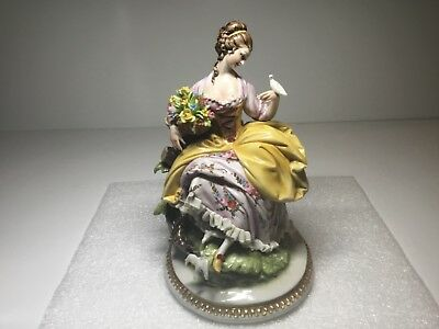 King's Porcelain Cappe Capodimonte Flower Seller Woman Lady with Doves Figurine