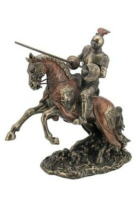 """12.5"""" Jousting Armored Knight w/ Eagle Emblem Medieval Statue Sculpture Horse"""