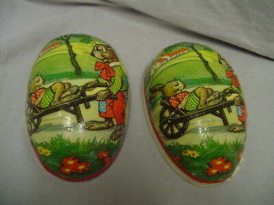 """Paper Mache Easter Egg With Rabbits, Cart, Farm Western Germany 6.5"""" Vintage"""