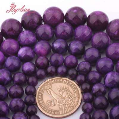 """6-14mm Round Purple Charoite Jade Spacer Loose Beads for Jewelry Making 15""""DIY"""