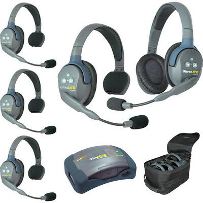Eartec HUB541 UltraLITE 4-Single 1-Double Headset Wireless System FREE BAG