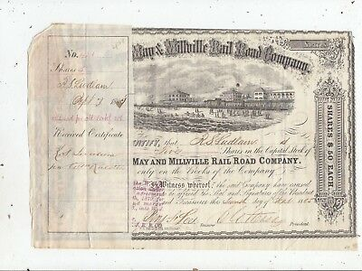 1865 Cape May & Millville Rail Road Orig Engraved Stock Cert./ New Jersey