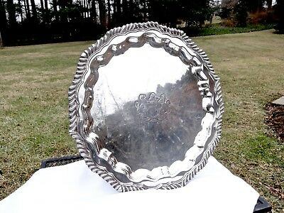 Antique W & S Blackinton Large Round Scalloped Edge Silver Serving Tray,armorial