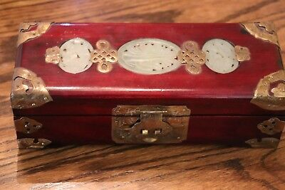 Vintage Rosewood and Brass with Inlaid Carved Jade Jewelry Box 10 in. x 4 in.
