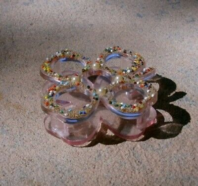 Vtg Pink Plastic Four-Leaf Clover LIPSTICK HOLDER/CADDY with Beads & Faux Pearls