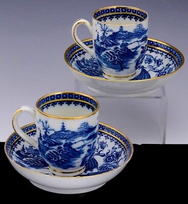 2FINE c1790 CAUGHLEY ENGLISH PEARLWARE CHINESE BLUE WHITE TEACUP CUP SAUCER DISH