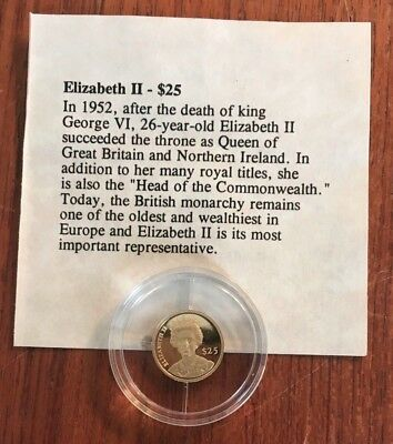 2000 LIBERIA $25 PROOF .999 GOLD COIN ELIZABETH II .73 gram