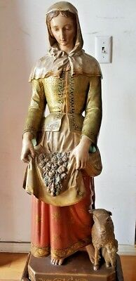 Important 17 Century European Carved Wood Hand Painted Madonna  Lamb Statue