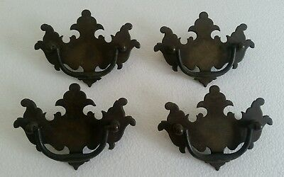 Set Of 4 Antique Vintage Drawer Pulls Solid Brass #949D